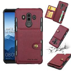 Brush Multi-function Leather Phone Case for Huawei Mate 10 Pro(6.0 inch) - Wine Red