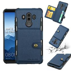 Brush Multi-function Leather Phone Case for Huawei Mate 10 Pro(6.0 inch) - Blue