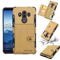 Brush Multi-function Leather Phone Case for Huawei Mate 10 Pro(6.0 inch) - Golden