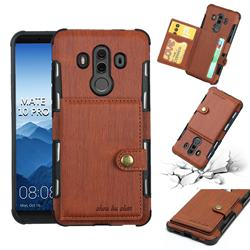Brush Multi-function Leather Phone Case for Huawei Mate 10 Pro(6.0 inch) - Brown