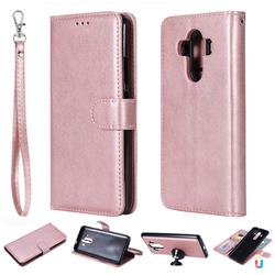 Retro Greek Detachable Magnetic PU Leather Wallet Phone Case for Huawei Mate 10 Pro(6.0 inch) - Rose Gold