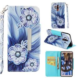 Button Flower Big Metal Buckle PU Leather Wallet Phone Case for Huawei Mate 10 Pro(6.0 inch)