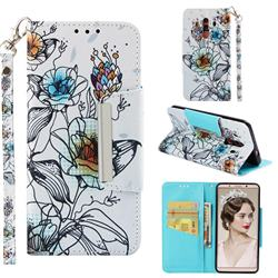 Fotus Flower Big Metal Buckle PU Leather Wallet Phone Case for Huawei Mate 10 Pro(6.0 inch)