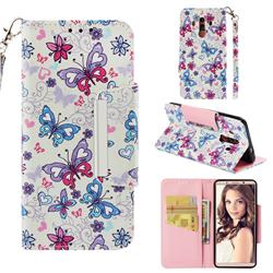 Colored Butterfly Big Metal Buckle PU Leather Wallet Phone Case for Huawei Mate 10 Pro(6.0 inch)