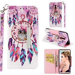 Owl Wind Chimes Big Metal Buckle PU Leather Wallet Phone Case for Huawei Mate 10 Pro(6.0 inch)