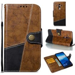 Retro Magnetic Stitching Wallet Flip Cover for Huawei Mate 10 Pro(6.0 inch) - Brown