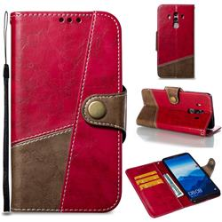 Retro Magnetic Stitching Wallet Flip Cover for Huawei Mate 10 Pro(6.0 inch) - Rose Red