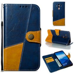 Retro Magnetic Stitching Wallet Flip Cover for Huawei Mate 10 Pro(6.0 inch) - Blue