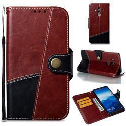 Retro Magnetic Stitching Wallet Flip Cover for Huawei Mate 10 Pro(6.0 inch) - Dark Red
