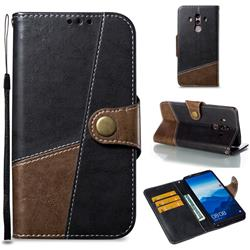 Retro Magnetic Stitching Wallet Flip Cover for Huawei Mate 10 Pro(6.0 inch) - Dark Gray