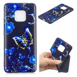 Phnom Penh Butterfly 3D Embossed Relief Black TPU Cell Phone Back Cover for Huawei Mate 20