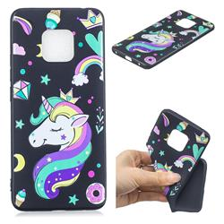 Candy Unicorn 3D Embossed Relief Black TPU Cell Phone Back Cover for Huawei Mate 20