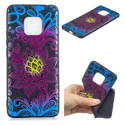 Colorful Lace 3D Embossed Relief Black TPU Cell Phone Back Cover for Huawei Mate 20