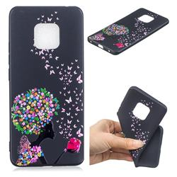 Corolla Girl 3D Embossed Relief Black TPU Cell Phone Back Cover for Huawei Mate 20