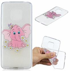 Tiny Pink Elephant Clear Varnish Soft Phone Back Cover for Huawei Mate 20