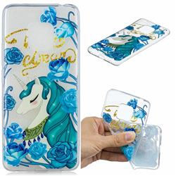 Blue Flower Unicorn Clear Varnish Soft Phone Back Cover for Huawei Mate 20