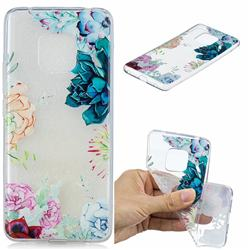 Gem Flower Clear Varnish Soft Phone Back Cover for Huawei Mate 20