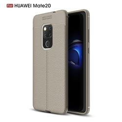 Luxury Auto Focus Litchi Texture Silicone TPU Back Cover for Huawei Mate 20 - Gray