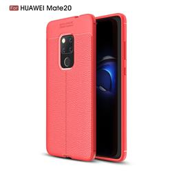 Luxury Auto Focus Litchi Texture Silicone TPU Back Cover for Huawei Mate 20 - Red