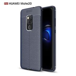 Luxury Auto Focus Litchi Texture Silicone TPU Back Cover for Huawei Mate 20 - Dark Blue