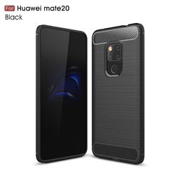 Luxury Carbon Fiber Brushed Wire Drawing Silicone TPU Back Cover for Huawei Mate 20 - Black