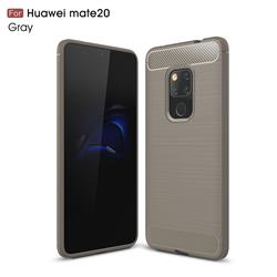 Luxury Carbon Fiber Brushed Wire Drawing Silicone TPU Back Cover for Huawei Mate 20 - Gray