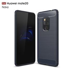 Luxury Carbon Fiber Brushed Wire Drawing Silicone TPU Back Cover for Huawei Mate 20 - Navy