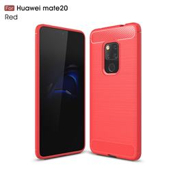 Luxury Carbon Fiber Brushed Wire Drawing Silicone TPU Back Cover for Huawei Mate 20 - Red