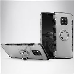 Armor Anti Drop Carbon PC + Silicon Invisible Ring Holder Phone Case for Huawei Mate 20 - Silver