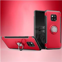 Armor Anti Drop Carbon PC + Silicon Invisible Ring Holder Phone Case for Huawei Mate 20 - Red