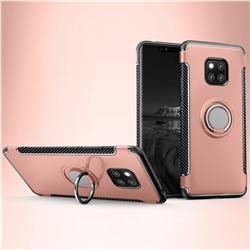 Armor Anti Drop Carbon PC + Silicon Invisible Ring Holder Phone Case for Huawei Mate 20 - Rose Gold