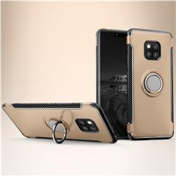 Armor Anti Drop Carbon PC + Silicon Invisible Ring Holder Phone Case for Huawei Mate 20 - Champagne