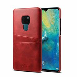 Suteni Retro Classic Card Slots Calf Leather Coated Back Cover for Huawei Mate 20 - Red