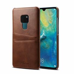 Suteni Retro Classic Card Slots Calf Leather Coated Back Cover for Huawei Mate 20 - Brown