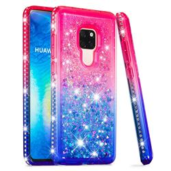 Diamond Frame Liquid Glitter Quicksand Sequins Phone Case for Huawei Mate 20 - Pink Blue