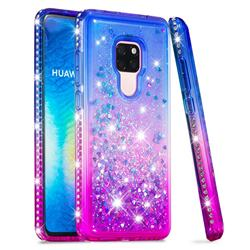 Diamond Frame Liquid Glitter Quicksand Sequins Phone Case for Huawei Mate 20 - Blue Purple
