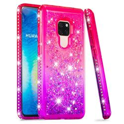 Diamond Frame Liquid Glitter Quicksand Sequins Phone Case for Huawei Mate 20 - Pink Purple