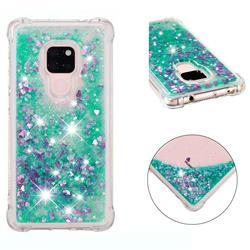 Dynamic Liquid Glitter Sand Quicksand TPU Case for Huawei Mate 20 - Green Love Heart