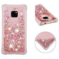 Dynamic Liquid Glitter Sand Quicksand TPU Case for Huawei Mate 20 - Rose Gold Love Heart