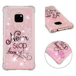 Never Stop Dreaming Dynamic Liquid Glitter Sand Quicksand Star TPU Case for Huawei Mate 20