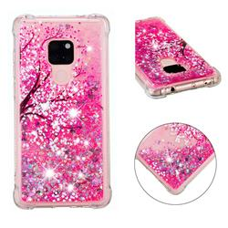 Pink Cherry Blossom Dynamic Liquid Glitter Sand Quicksand Star TPU Case for Huawei Mate 20
