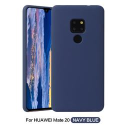 Howmak Slim Liquid Silicone Rubber Shockproof Phone Case Cover for Huawei Mate 20 - Midnight Blue