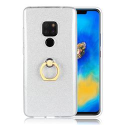 Luxury Soft TPU Glitter Back Ring Cover with 360 Rotate Finger Holder Buckle for Huawei Mate 20 - White