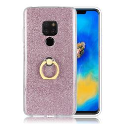 Luxury Soft TPU Glitter Back Ring Cover with 360 Rotate Finger Holder Buckle for Huawei Mate 20 - Pink