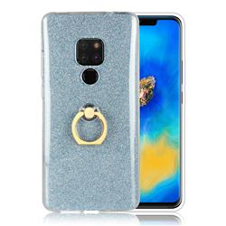 Luxury Soft TPU Glitter Back Ring Cover with 360 Rotate Finger Holder Buckle for Huawei Mate 20 - Blue