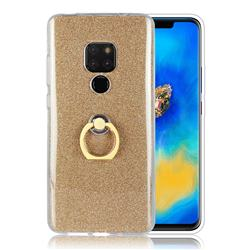 Luxury Soft TPU Glitter Back Ring Cover with 360 Rotate Finger Holder Buckle for Huawei Mate 20 - Golden