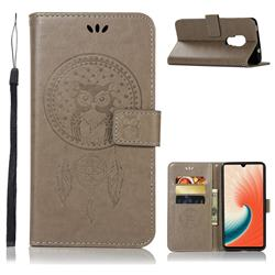 Intricate Embossing Owl Campanula Leather Wallet Case for Huawei Mate 20 - Grey