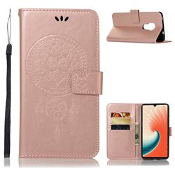 Intricate Embossing Owl Campanula Leather Wallet Case for Huawei Mate 20 - Rose Gold