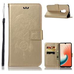 Intricate Embossing Owl Campanula Leather Wallet Case for Huawei Mate 20 - Champagne