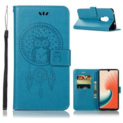 Intricate Embossing Owl Campanula Leather Wallet Case for Huawei Mate 20 - Blue